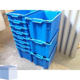 Kunststof transportbak 600x400x350mm. blauw, stapelbaar en nestbaar
