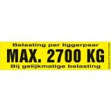 Draagvermogen etiket 2700kg. per 10 stuks