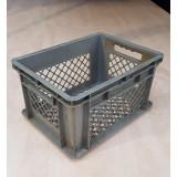 Kunststof transportbak 400x300x215mm. grijs, stapelbaar, open