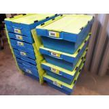 Kunststof transportbak 600x400x220mm. blauw/groen