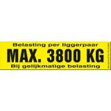 Draagvermogen etiket 3800kg. per 10 stuks
