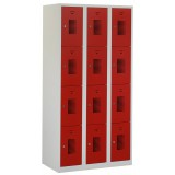Square locker, 90cm breed, 3-koloms, 12-deurs.