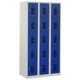Square locker, 90cm breed, 3-koloms, 15-deurs.