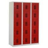 Square locker, 120cm breed, 3-koloms, 15-deurs.